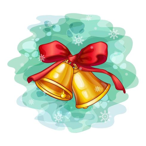 Two Christmas bells with a red bow vector