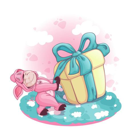 A boy in a pink pig costume pulls a huge gift box with a bow