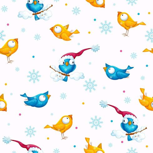 winter pattern with funny big-eyed birds