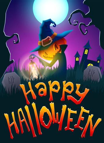 Halloween Jack la calabaza en el cementerio vector