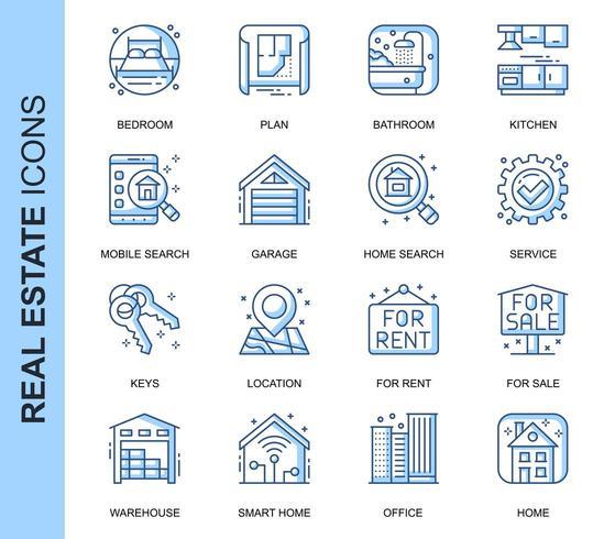 Conjunto de ícones relacionados azul imobiliário linha fina