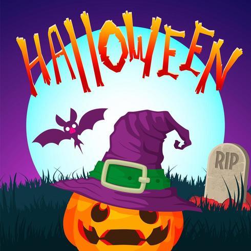 Halloween Jack o lantern in the graveyard