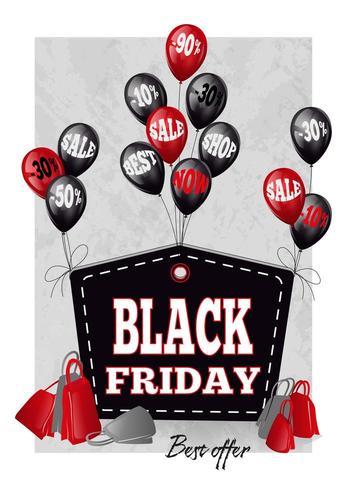 Etiqueta estilizada de sexta-feira negra com balões pretos e vermelhos