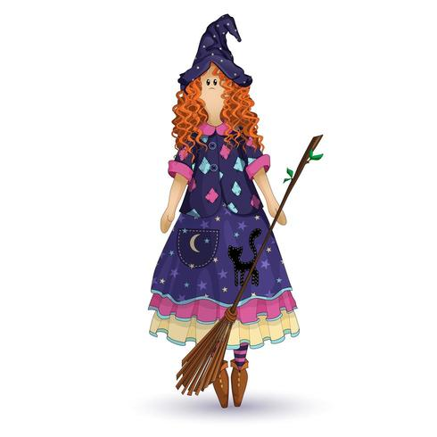 Muñeca de trapo nacional escandinava en forma de bruja de cocina con cabello rizado rojo vector