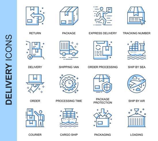 Conjunto de iconos relacionados con la entrega de línea delgada azul