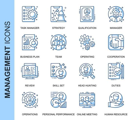 Blue Thin Line People Management Related Icons Set