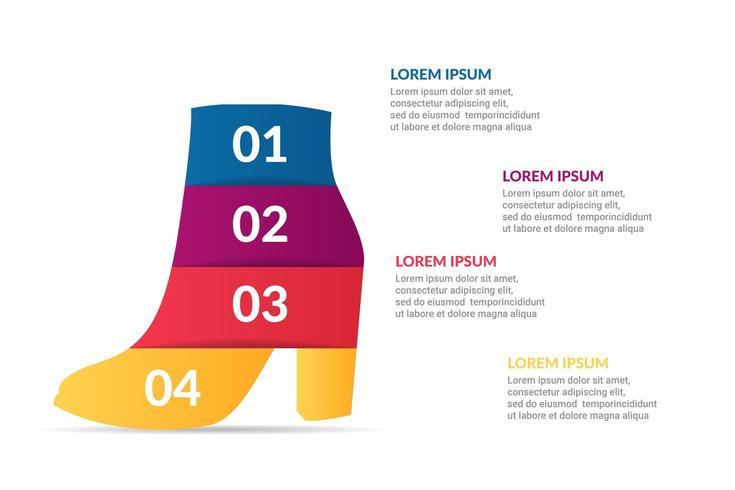 design de infográfico de sapato com opções ou lista
