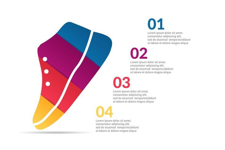 Schuh Infografik Design mit Optionen oder Liste