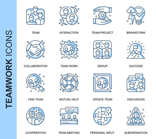 Blue Thin Line Teamwork Related  Icons Set