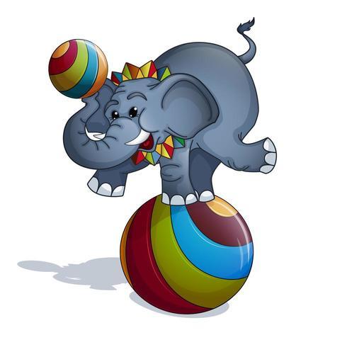 Een getrainde olifant balancerend op een kleurrijke bal