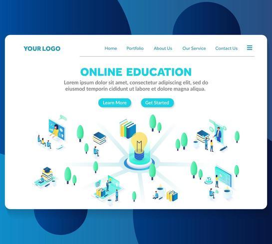 modelo de página de destino isométrica de educação on-line