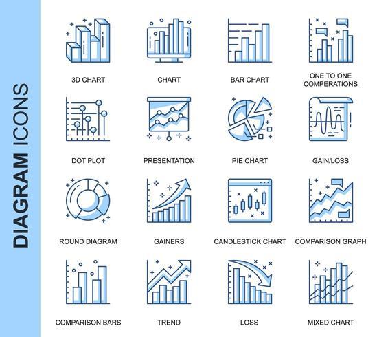 Set di icone correlate diagramma sottile linea blu