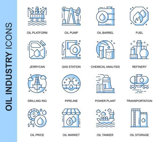 Conjunto de iconos relacionados con la industria del petróleo de línea delgada azul