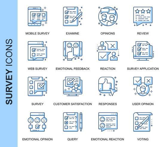 Set di icone relative al sondaggio linea sottile blu