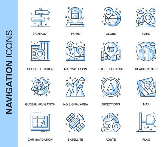 Conjunto de ícones relacionados à navegação de linha fina azul