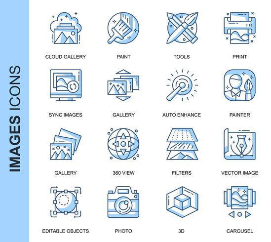 Blue Thin Line Images Related Icons Set  vector