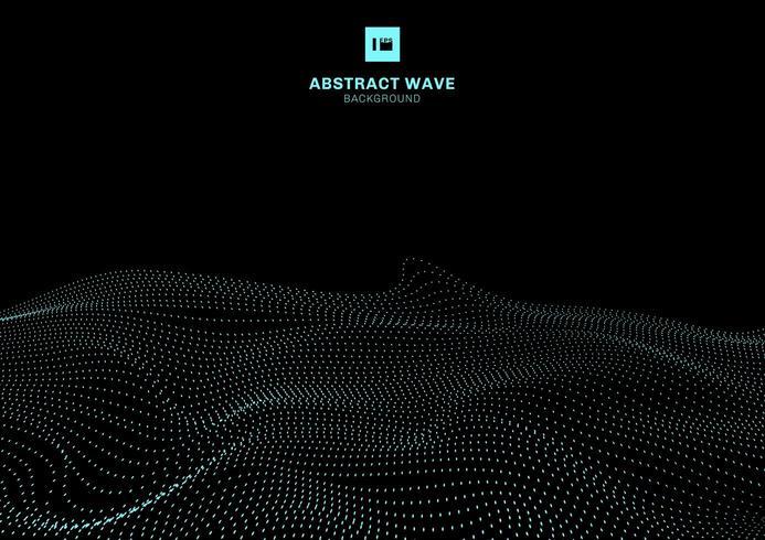 Abstracte blauwe dynamische golf van deeltjes op zwart achtergrond futuristisch technologieconcept.