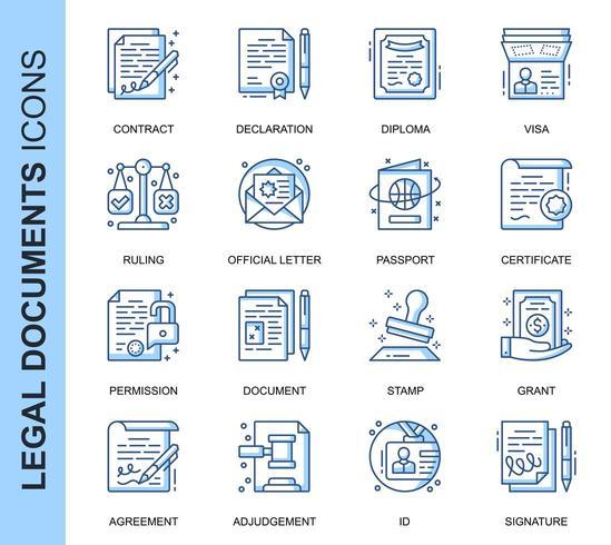 Blue Thin Line Documents légaux connexes Icons Set
