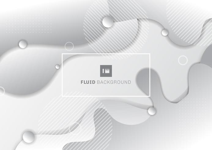 Abstract fluid white and gray background with circles geometric elements vector