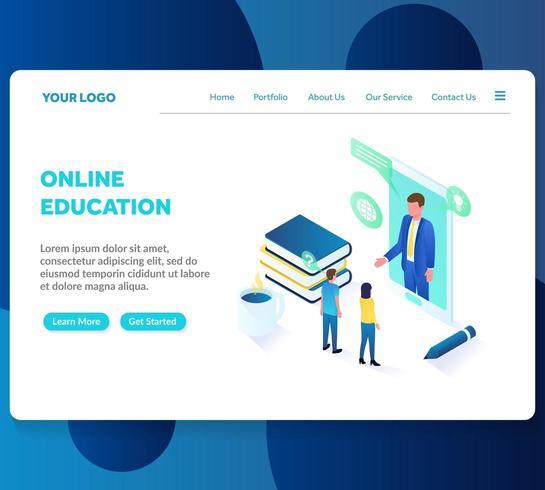 modèle de page d'atterrissage isométrique de l'éducation en ligne
