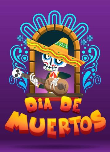 Illustrazione di vettore di Dia de los muertos, giorno dei morti