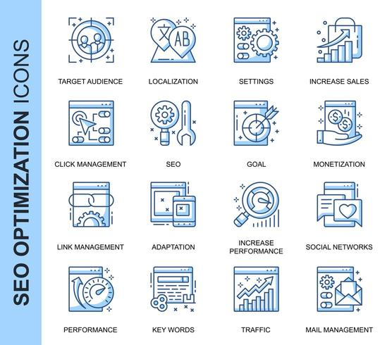 Blue Thin Line SEO Related Icons Set