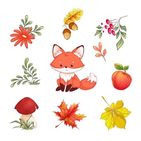 Insieme di autunno degli elementi naturali della foresta