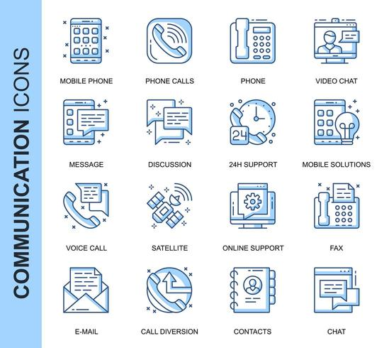 Blue Thin Line Communication Related  Icons Set vector