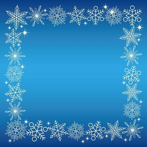 Moldura quadrada de cristal de neve branca sobre um fundo azul