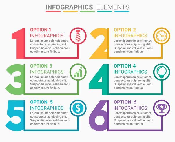 Number Infographic Design Set vector