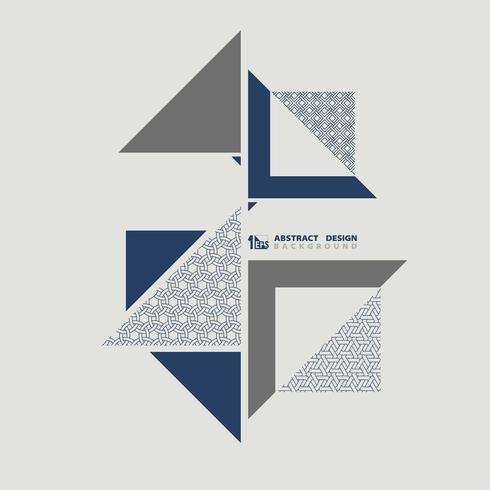 Patrón de triángulos azules con textura retro abstracto vector