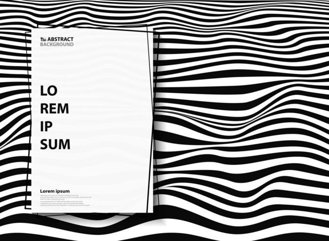 Patrón ondulado de rayas cebra blanco y negro abstracto vector