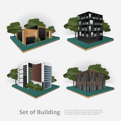 Modern City Building isometric illustration vector