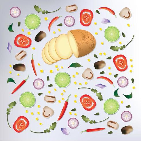 Bunter Hintergrund des rohen Gemüses des Musters