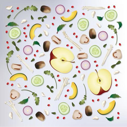 Färgglada mönsterfrukter och grönsakerbakgrund