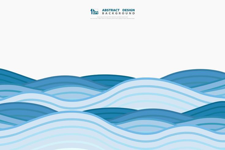 Abstract minimalistisch rollend blauw golvenpatroon