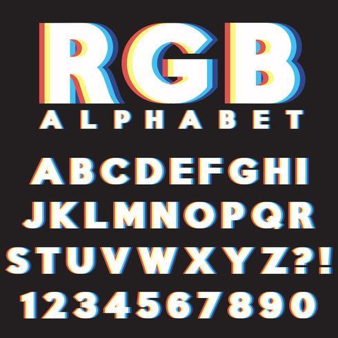 Set di lettere CMYK RGB vettore