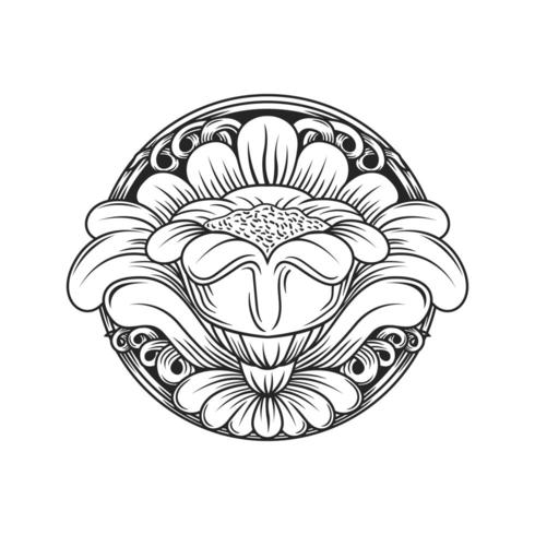 Carved wood effect circular floral pattern