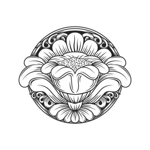 Geschnitztes kreisförmiges Blumenmuster des Holzeffektes
