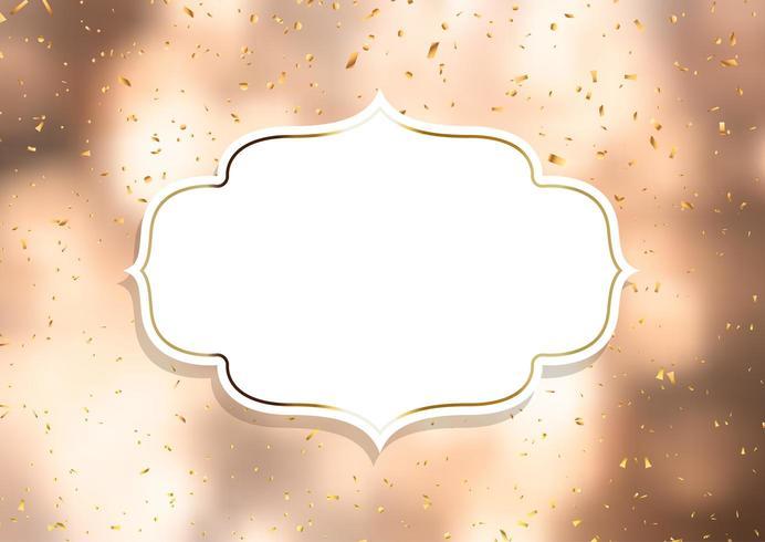 Cornice decorativa su uno sfondo di coriandoli d'oro