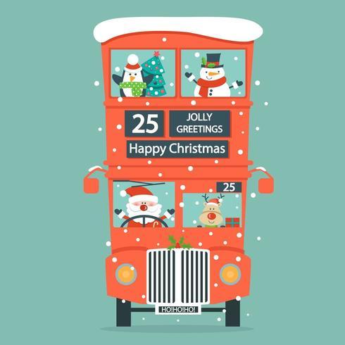 Cartão de Natal com Papai Noel, veado, boneco de neve, pinguim no ônibus de dois andares