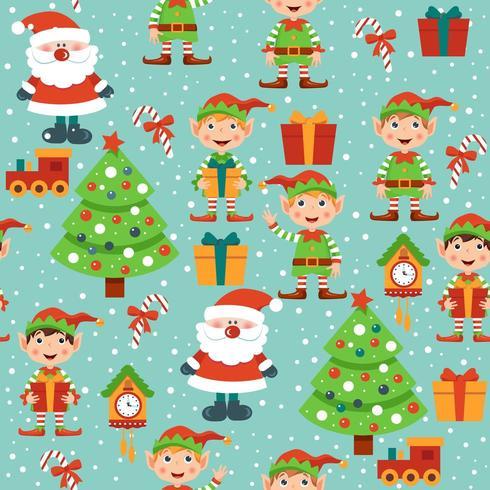 Seamles patern med jultomten, älva, lådor, träd och klockor