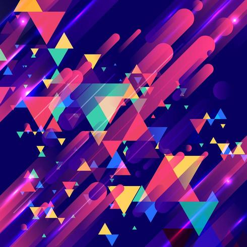 Elementos coloridos y patrón de triángulos superpuestos modernos creativos
