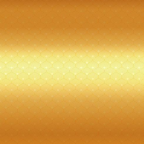 Golden hexagon border pattern on luxury gold background.