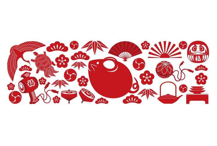 Año de la plantilla de tarjeta roja de felicitación de año nuevo de rata.