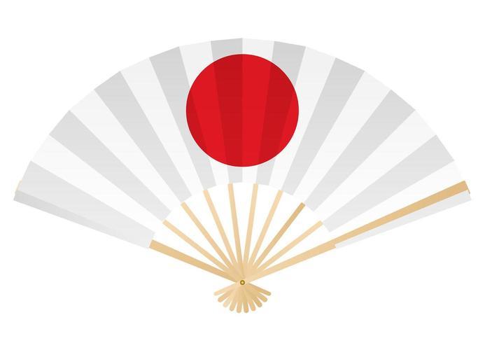 Eventail pliant avec un symbole de cercle rouge.