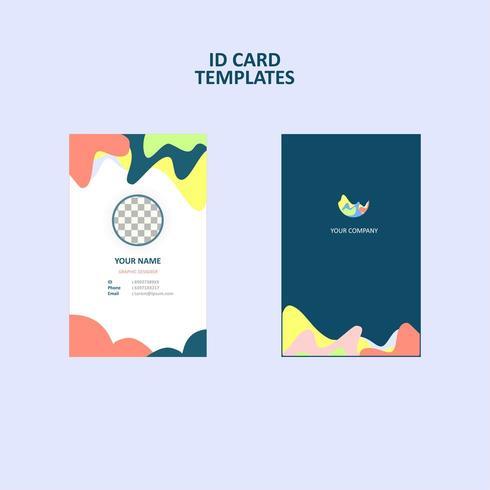 Tarjeta de identificación comercial creativa y colorida de estilo plano