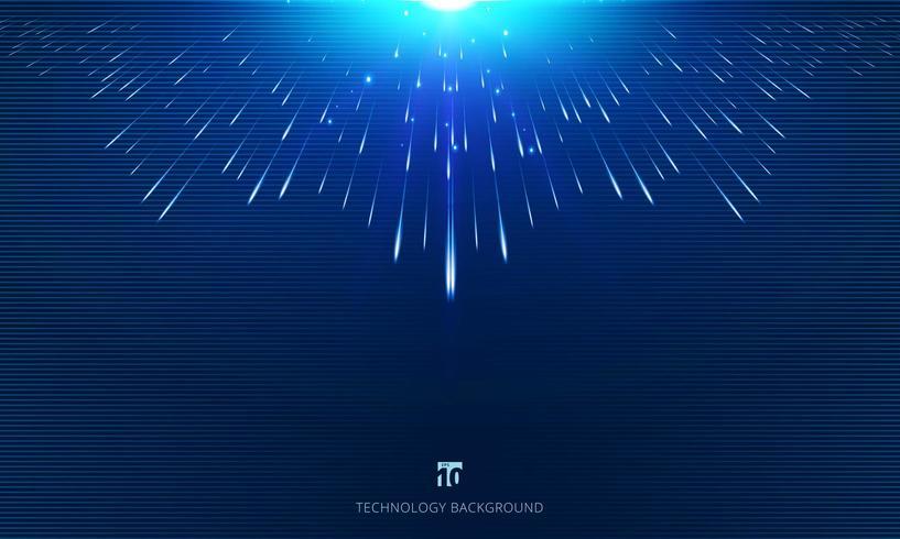Perspectiva de linhas de meteoro composta com explosão de luz
