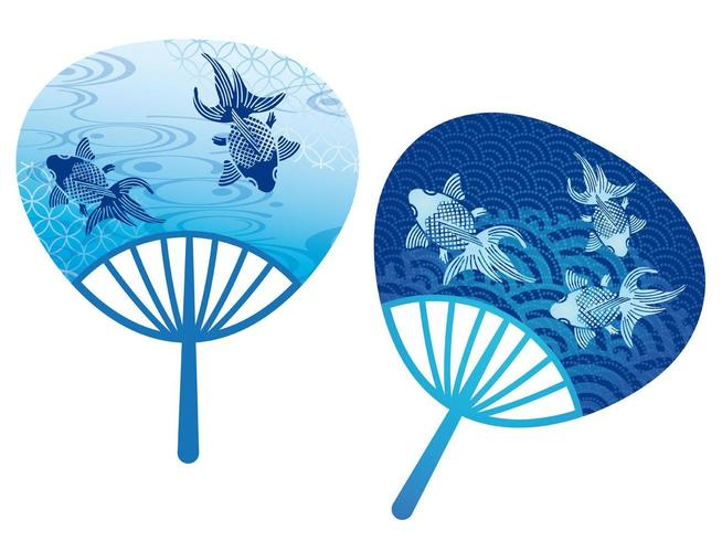 Set of two round paper fans decorated