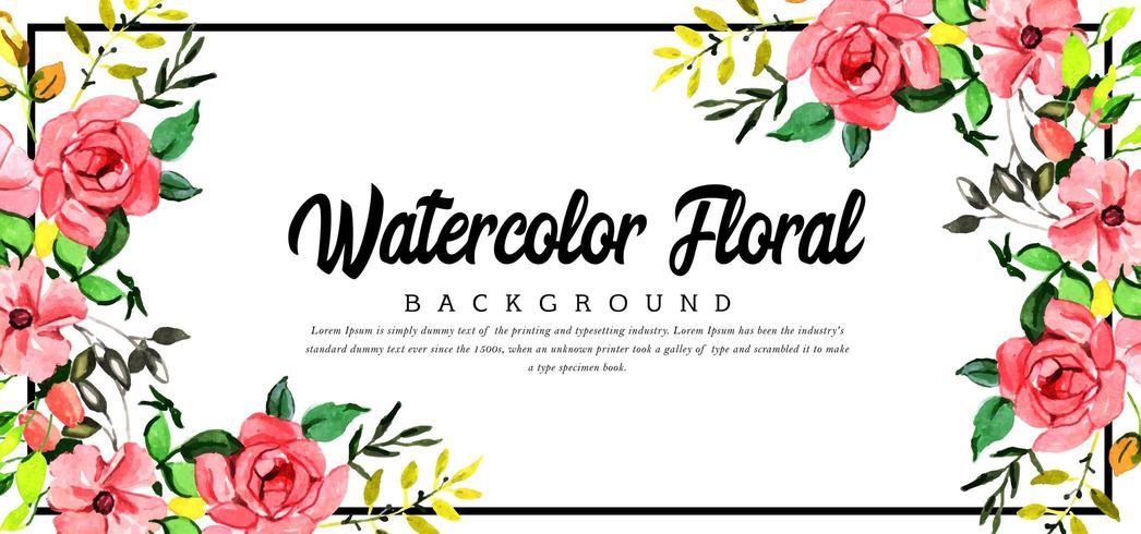 Hermoso fondo floral esquina acuarela